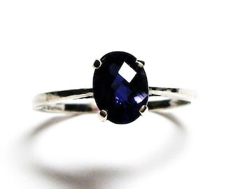 "Iolite, iolite ring, checkerboard ring, solitaire ring, blue,  blue ring, s 7 1/2  ""Joyful"""