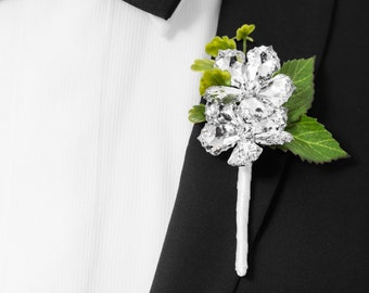 Prom Boutonniere, Wedding Boutonniere - Two Flower Ranier Boutonniere with Green Leaves - Buttonhole, Silver Boutonniere, Crystal