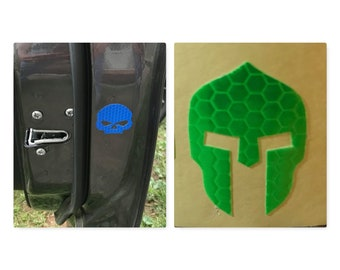 REFLECTIVE SKULL or SPARTAN Helmet Sticker Made for Vehicle Doors, Motorcycles, Helmets, Trailers, rv's, Safety, stick them anywhere 5 inc.