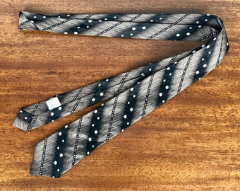 Vintage 1950s Necktie | 50s Black Mid Century Mod Acetate and Rayon Tie with White Polka Dots and Bias Striped Bands of Antique Brass