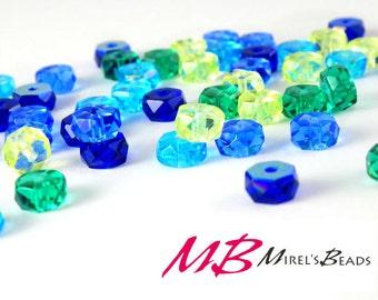 120 pcs Rondelle Bead Mix, Blue, Yellow, and Green, Czech Glass Bead Mix, 3x6mm