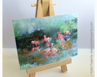 "ACEO Print of Acrylic Painting of ""Flamingos"" by Kylie Fogarty Art"