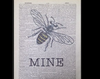 Vintage Bumble Bee Print Dictionary Print Page Wall Art Picture Insect Be Happy Quote  Humour Funny Cute Friendship Home Decor Cool Funky