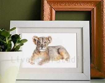 Watercolor Baby Lion print, Animal Art giclee print, Safari African Kids Wall Art print, Safari Nursery Decor, Lion Wall Art for Children