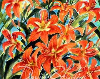 Orange Day Lilies - Orange day lilies signed art print of original watercolor painting