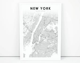 new york map print new york city nyc ny usa map art poster city