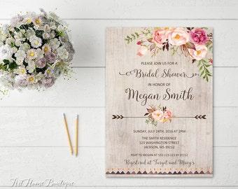 Bridal Shower Invitation, Floral Bridal Shower Invitation, Boho Bridal Shower Invite, Bridal Shower Printable, Rustic Bridal Shower, #W99