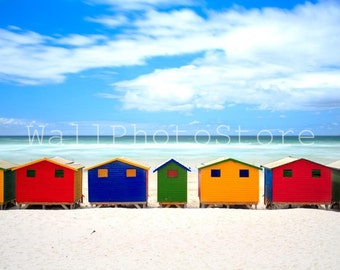 Beach Photography, Colorful Beach Huts, Muizenberg Beach, Cape Town, South Africa, Summer, Fine Art Photography, Print Photography, Wall Art