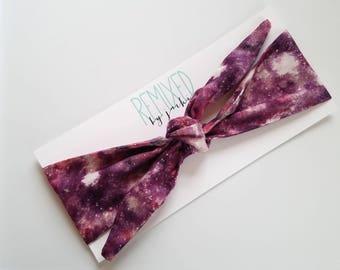 Vintage Inspired Head Scarf Galaxy - Headband Purple Milkyway