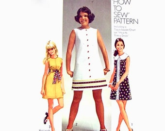 Simplicity 8609 - UNCUT Junior Size 5/6 - A-Line Dress - Peter Pan Collar- Sleeveless- Panel Dress - Easy to Sew - Vintage Sewing Pattern