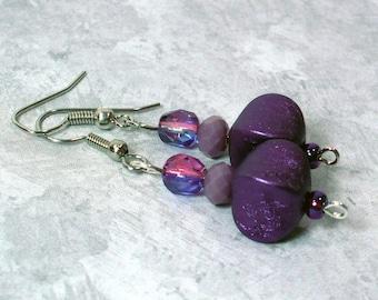 Violet & Amethyst Earrings; Purple Pouf Earrings, Czech Glass Beaded Earrings, Nickle-Free Earrings, Handmade Woman's Earrings