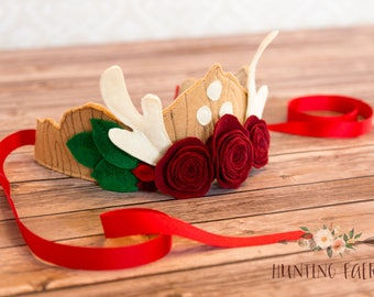 Magical Fawn and Red Rose Fairy Crown for Pretend Play