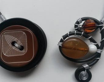 Collar button and Brown beads