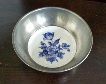 Schwarzenhammer Bavaria Porcelain Plate With Tin Border  Handpainted