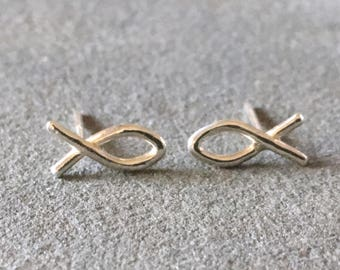Christian Fish Symbol Stud Earrings, Fish Earrings, Sterling Silver ICHTHUS Studs, IXTHUS, Christian Earrings, Religious jewelry, easter