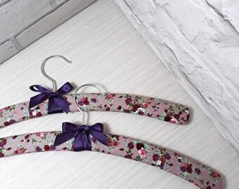Padded hanger, padded clothes hanger, handmade covered hanger, floral hanger, 2 floral hangers
