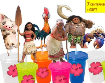 Moana Centerpiece, moana printables, Moana Cake topper, Moana Party, Instant Download, You print, 60% OFF