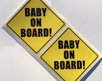 2 Baby On Board Yellow Placard Window Bumper Decal Sticker