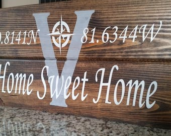Home Sweet Home/ GPS coordinates sign
