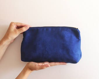 Blue Evening Clutch /Blue handbag - Women's bag /Blue clutch / Evening clutch purse - Vegan bag - Faux suede clutch