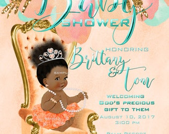 Baby Shower Invitation African American Baby Girl Christian