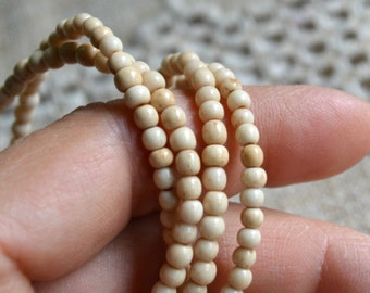4mm Bone Beads Antiqued Brown White Round 16 Inch