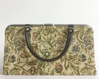 Floral Tapestry Handbag in Beige with Brown Handles - Flowers Leaves in Green, Blue, Red-Brown, Neutral Earth Tones - Vintage 60s Purse Bag