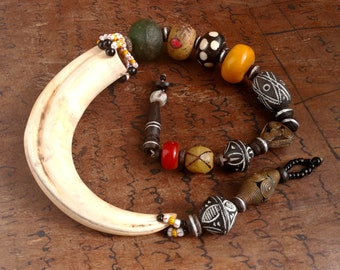 African Pearl and Fang necklace