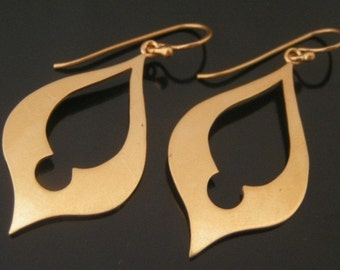 Large dangle earrings, gold vermeil earrings, gold plated sterling silver