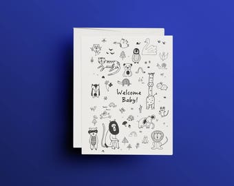Print, greeting card, baby cards, welcome baby, A6