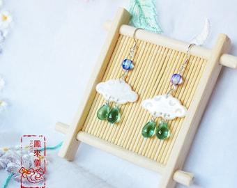 Flyin Chinese cloud earrings in sweet fairy style, colorful beads, carved cloud shell earrings, Chinese jewelry