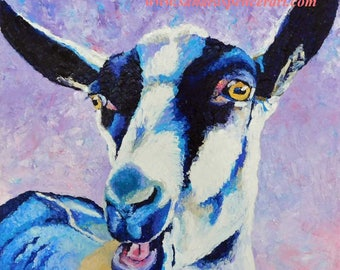 """Original Oil Painting Alpine Goat 12""""x12"""" painted by knife"""