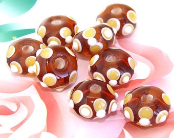 5beads/lot Charm Candy White Circle Rondelle Coffee Lampwork gemstone beads 9mmx14mm