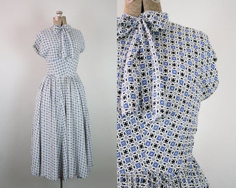 1940s 1950's Blue and Black Print Rayon Day Dress / Size Small