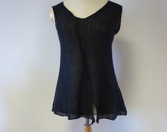 Casual black linen top, M/L size.