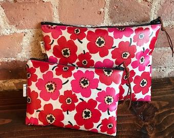 Marimekko like red poppy Zip pouch made w Japanese water proof laminated Linen cotton, Oilcloth ,Makeup bag, Clutch purse, Zipper pouch