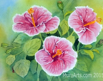 Hibiscus Flowers, Floral Painting in Watercolor, 30 cm x 44 cm