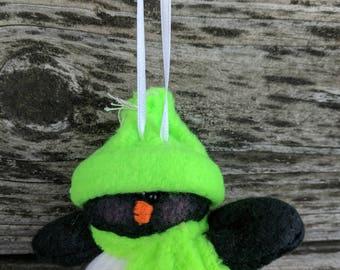 Silly Little Penguin Ornament, Christmas Ornament, Penguin Ornament, Hanging Ornament, Penguin, Bright Green