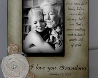 Grandma Picture Frame Gift Wedding Frame Bride Keepsake Personalize Picture Frame 4x6 grandmothers.5x7 Mother's Day