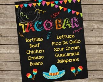 Fiesta / Taco / Cinco De Mayo / Taco Bar / Nacho Bar Party Menu