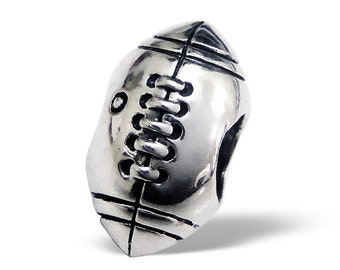 BUNCHABEADS Football Sports Bead Charm 925 Sterling Silver - BD1942