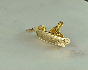 Gold Bon Voyage Boat Charm