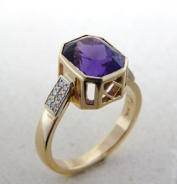 AAA fine amethyst ring gold African Amethyst ring purple