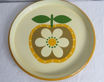 Vintage Country Fair Apple and Flower Barware Serving Tray