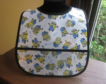WATERPROOF WIPEABLE Baby to Toddler Wipeable Plastic Coated Bib Minions