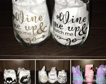 Custom 17oz Stemless Wine Glasses ( Quaintly 1 to 3 )