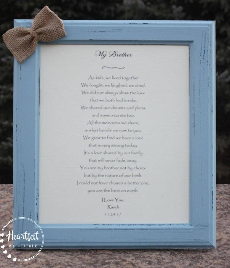 Brother Poem Personalized Gift For Brother Birthday Gift For Brother