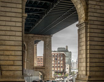 Under the Bridge, City Street under the Manhattan Bridge in New York City, Stone Columns, Traffic on the Road, Urban Architecture,