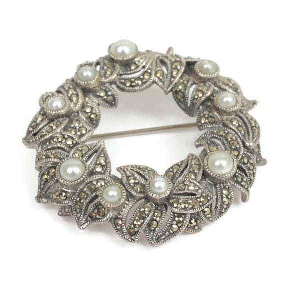 Marcasite Faux Pearl Sterling Brooch Judith Jack Wreath Circle Pin Vintage