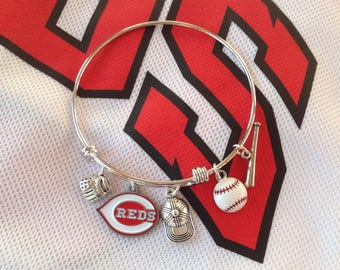 Cincinnati Reds Themed Bangle Charm Bracelet